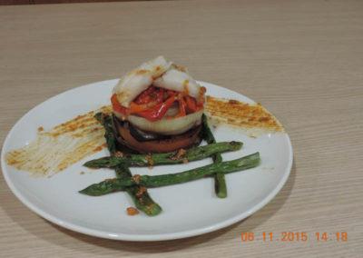 Parrillada de verduras con migas de bacalao 801
